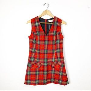 Vintage 1960s Young Pendleton plaid jumper dress S